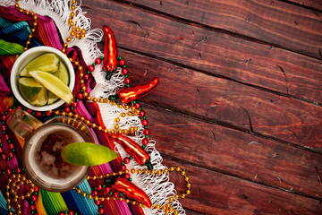 Background: Glass of Mexican Beer and Limes for Cinco De Mayo