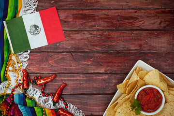 Background: Cinco De Mayo Celebration with Flag and Snack