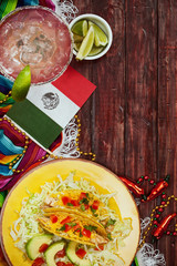 Background: Cinco De Mayo Celebration With Tacos and Margarita