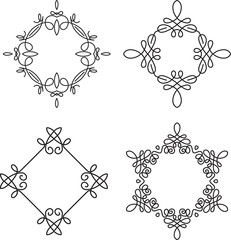 Set of 4 calligraphical frames for monogram or other design