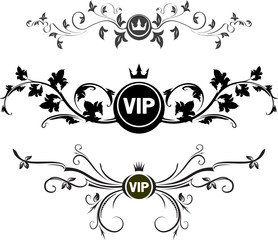 Set of 3 VIP decors with floral elements