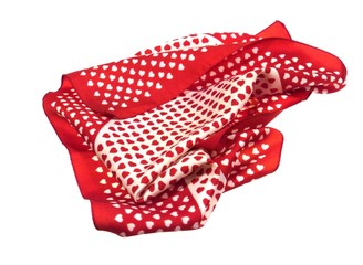 Red and white hearts on a shawl  over white