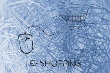 online business: computer mouse and shopping cart