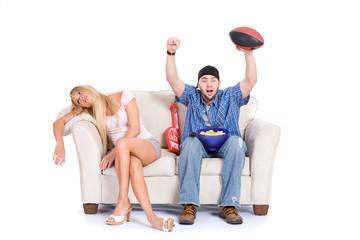 Couple: Woman Falling Asleep During Sports TV