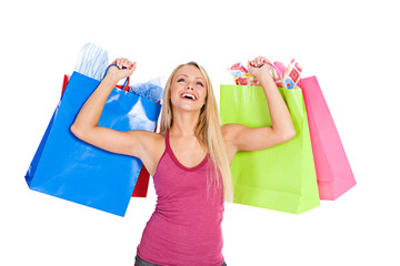 Shopping: Laughing Shopper With Bags In Air