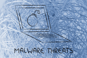 internet security and malware threats, bomb inside pc