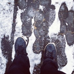 Sneakers snow background