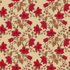 Vector floral seamless with red flower