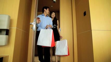 Heterosexual Asian Chinese Couple Fashion Shopping Hotel Travel