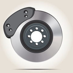 Brake disc with a shoe on a gray background