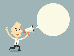 Businessman holding megaphone with bubble speech