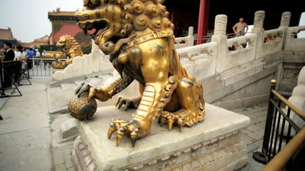 Chinese Lion Statue Temple of Heaven Beijing China Asia