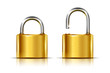 Two icons -- golden padlock in the open and closed position - 76941977