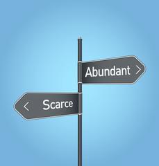 Abundant vs scarce choice road sign on blue background
