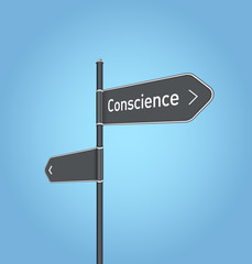 Conscience nearby, dark grey road sign