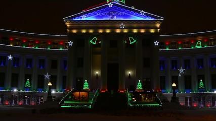 Tilt up shot of the Denver Civic Center Christmas lights