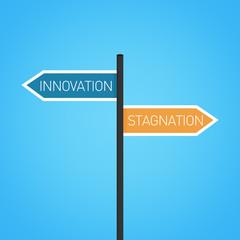 Innovation vs stagnation choice road sign