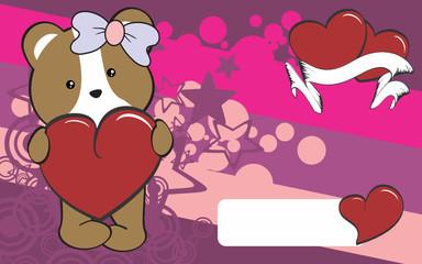 cute hamster girl cartoon valentine backgorund