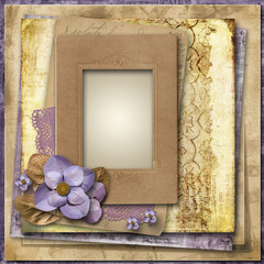 Vintage background with flowers and old frame