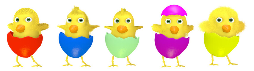 Group of cartoon Easter chickens isolated on white