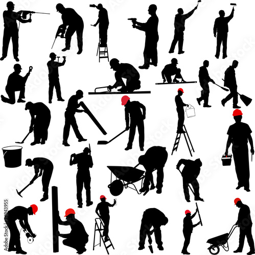 construction workers silhouettes collection - vector - 76943955