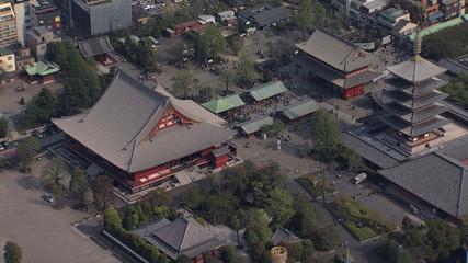 Aerial view Sensoji Temple Thunder Gate Buddhist Tokyo