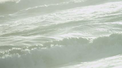 Full Frame Clean Saltwater Ocean Waves Flowing Shore