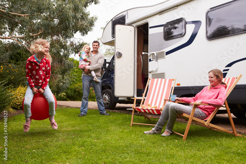 canvas print picture Family Enjoying Camping Holiday In Camper Van