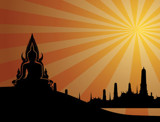 Thai buddha silhouette on orange background and Thai temple.vect