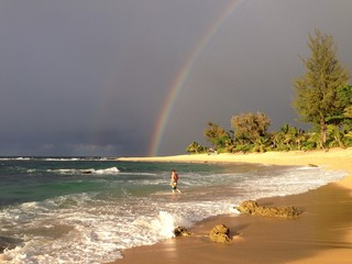 rainbow in the beach in hawaii