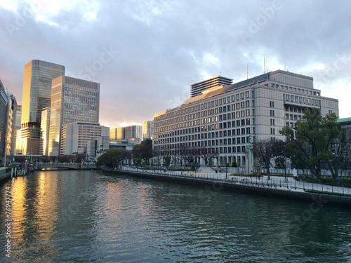 canvas print picture Sonnenuntergang in der Stadt