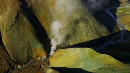 Aerial National Park Iceland minerals landscape hot steam volcanic