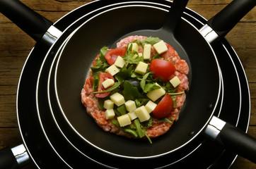 Pizza with fleisch y formaggio
