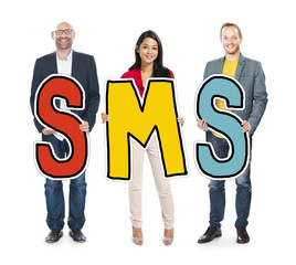 Multiethnic Group of People Holding Letter SMS Concept