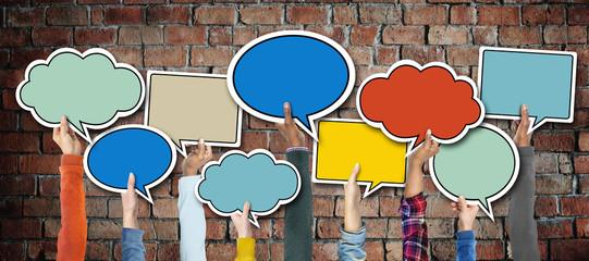 Group Hands Holding Speech Bubbles Concept