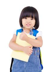 Lovely asian preschooler raised her thumbs up
