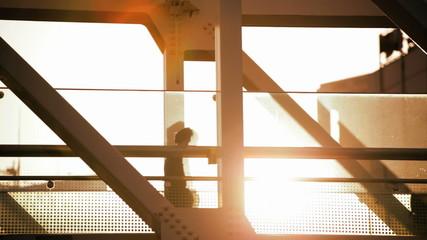 Tokyo Global travellers elevated modern glass walkway sun flare  people Japan