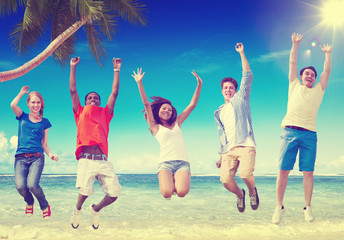 Beach Friendship Summer Happiness Relaxation Concept