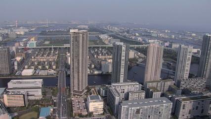 Aerial Metropolitan Tokyo Bay area elevated Expressway Japan