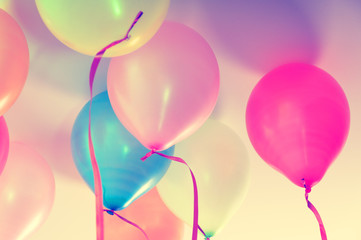Close up of colorful balloons - retro look