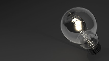 Close Up Of Electric Bulb On Black Text Space