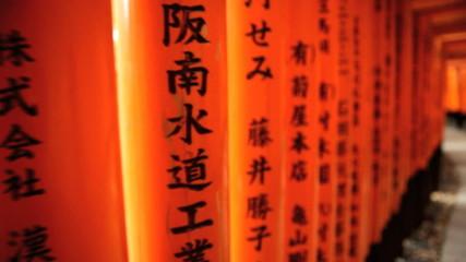 POV Torii gates Fushimi Inari Taisha shrine inscriptions Kyoto Japan