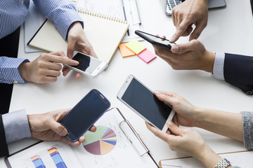 Businessmen have a one person one single mobile phone