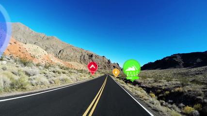POV HUD Driving American Highway Nevada Satellite Virtual Location Apps CG