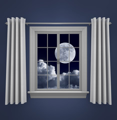 Full moon in night sky shining through a bedroom window