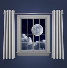 Full moon in night sky shining through a bedroom window