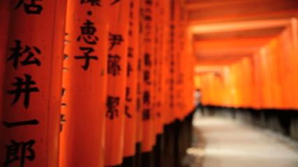 POV Torii gates Fushimi Inari Taisha  tourists Buddhist temple Kyoto