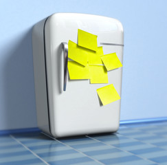 Old fridge with yellow stickers (3d)