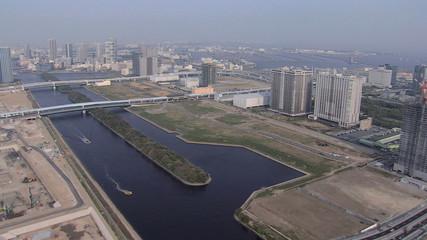 Aerial Tokyo development Tokyo Bay Expressways Japan