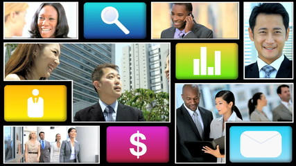Montage video ethnic businessmen communication touch screen motion graphics
